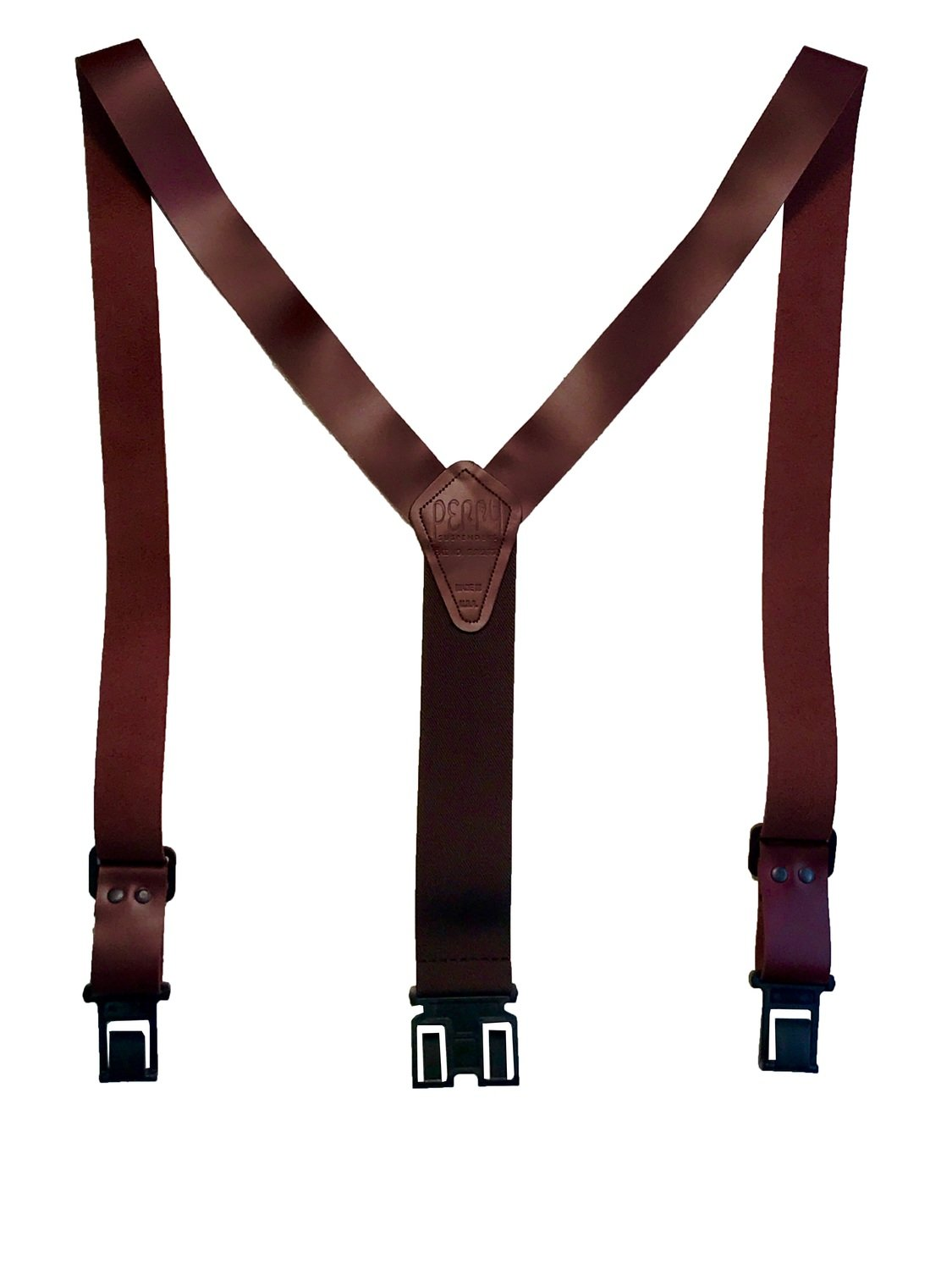 """1 1/2"""" Leather Perry Suspenders - Brown"""
