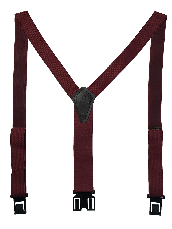 "1 3/8"" Premium Dress Perry Suspenders - Burgundy Checkered"