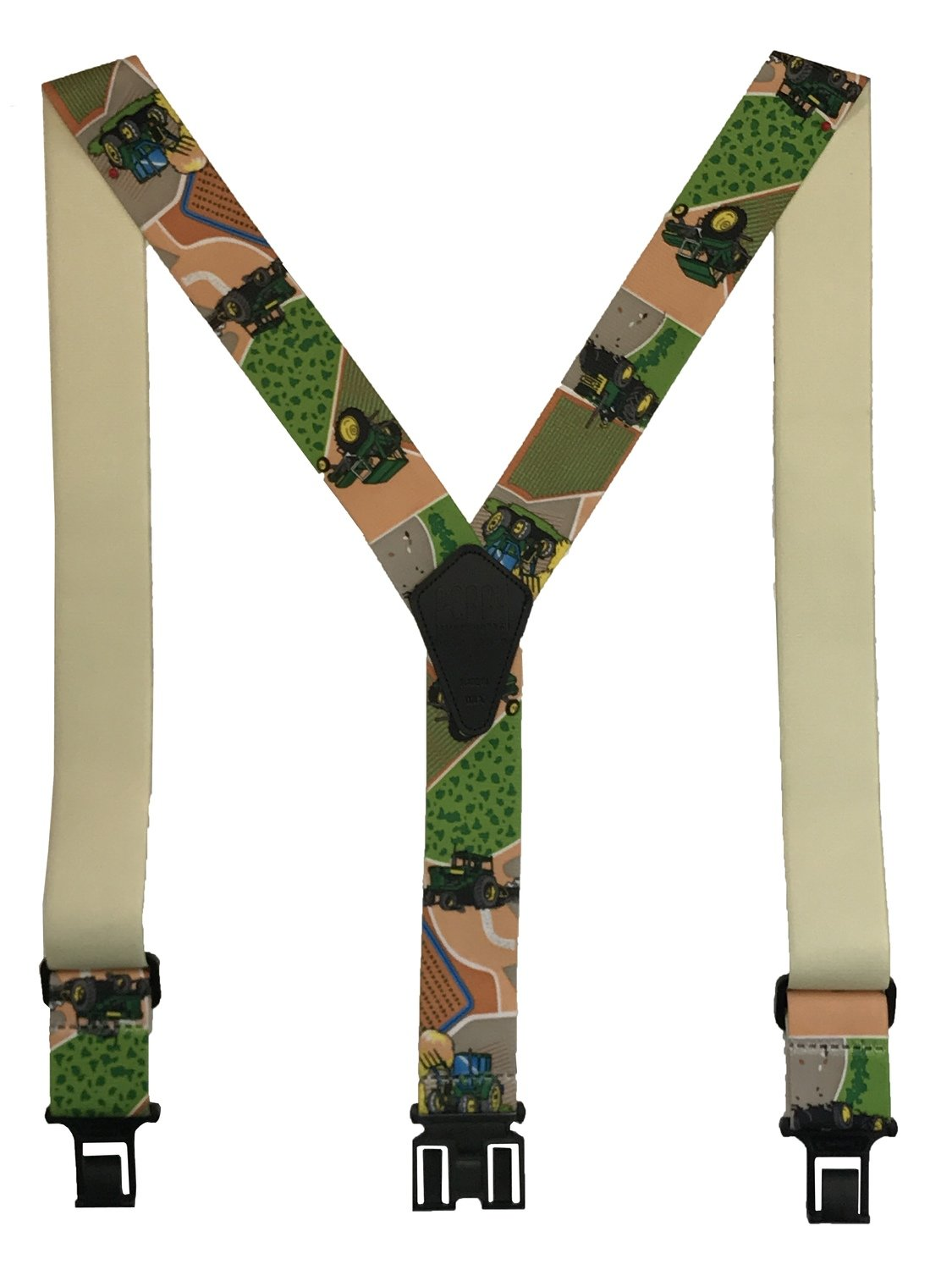 Novelty Perry Suspenders - Green and Yellow Tractors