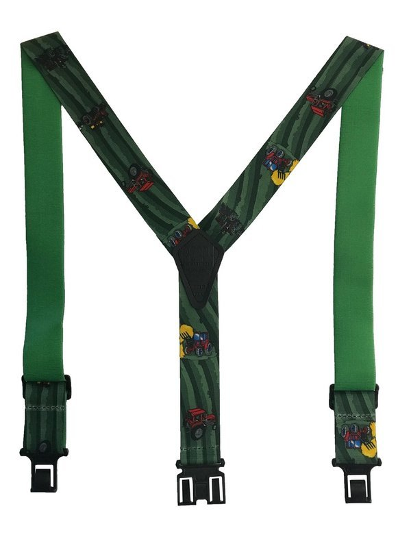 Novelty Perry Suspenders - Red and Black Tractors