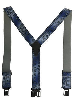 Novelty Perry Suspenders - Blue Metallic Tape Measure