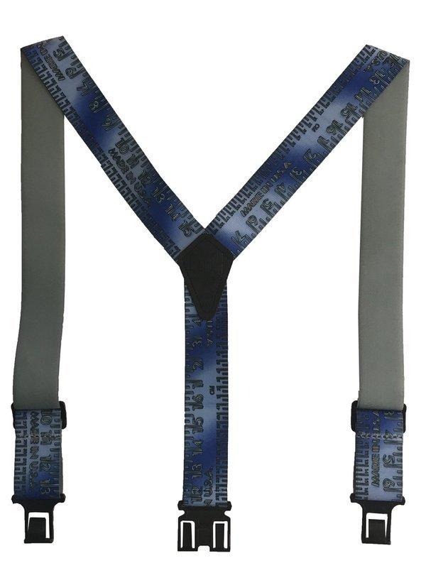 Novelty Perry Suspenders - Blue Metallic Tape Measure