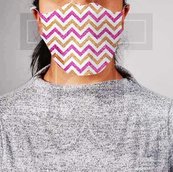 *PRE-ORDER* Premium Cloth Mask with Built-In Filter - Pink and Gold Glitter Chevron