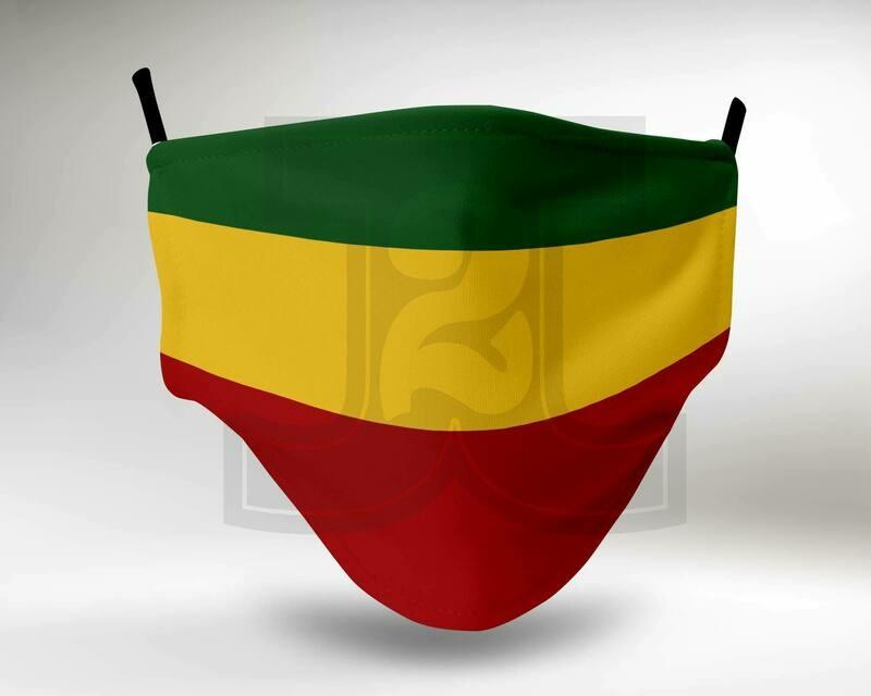 2-Ply Cloth Mask w/ Filter - Rastafari Flag