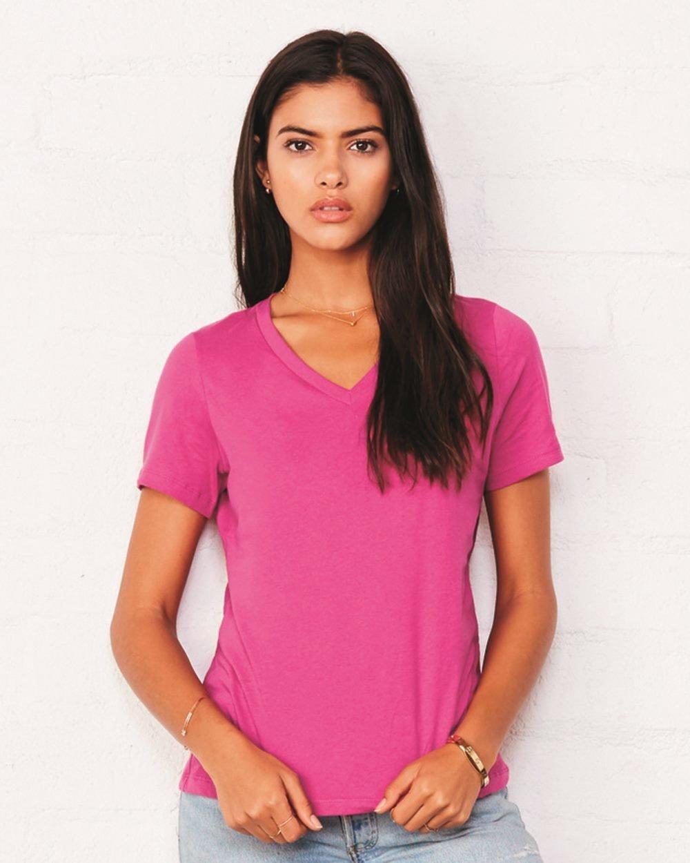Women's Relaxed Short Sleeve Jersey V-Neck Tee - (STYLE#PRBC006405)