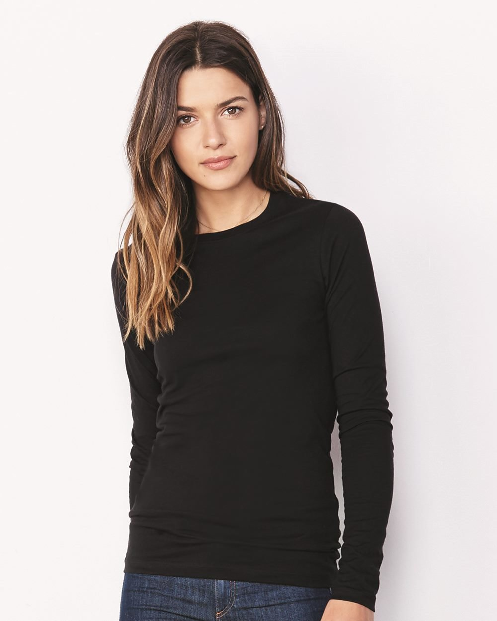 Women's Relaxed Long Sleeve Crew Neck Jersey Tee - (STYLE#PRBC006450)