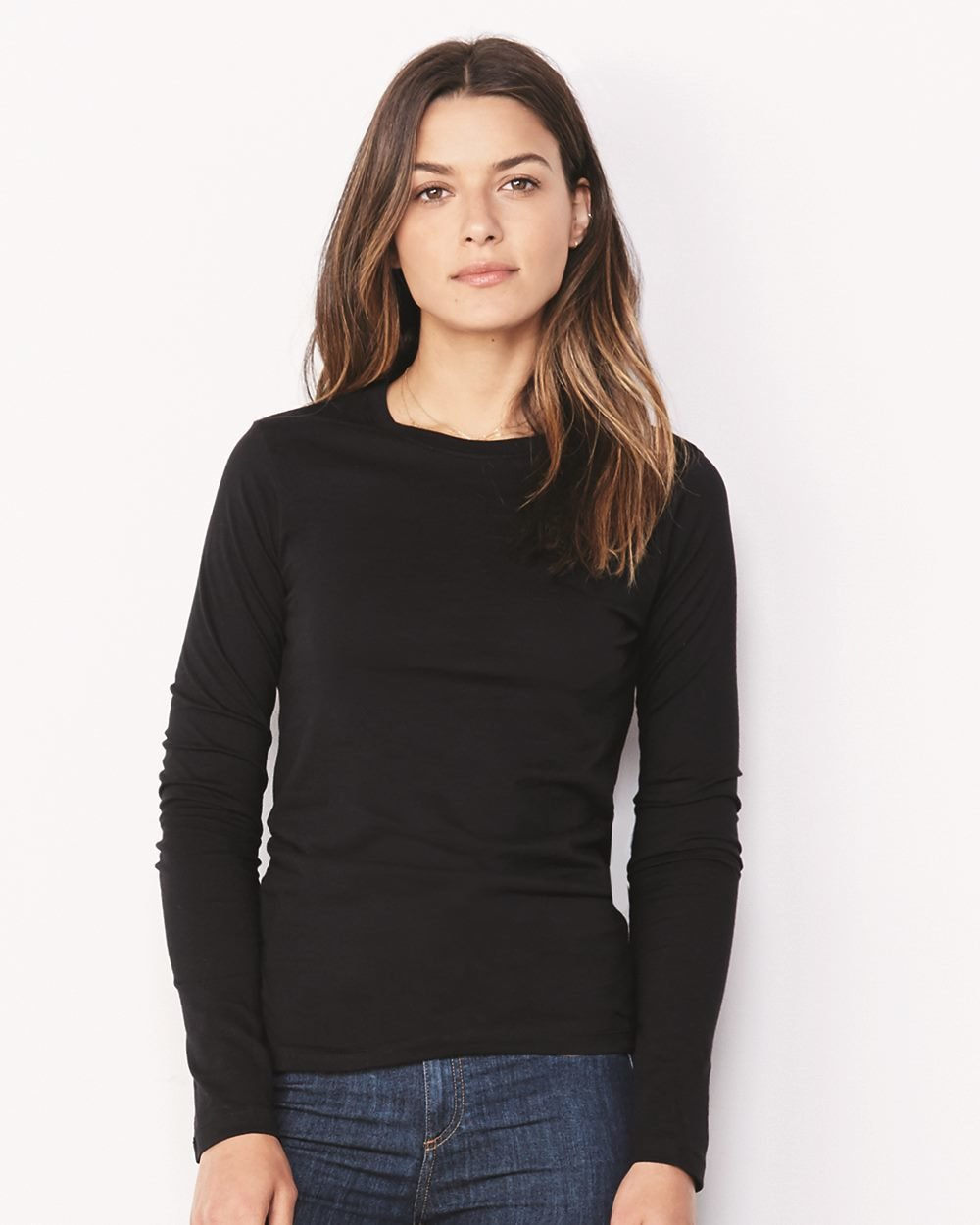 Women's Long Sleeve Crew Neck Jersey Tee - (STYLE#PRBC006500)