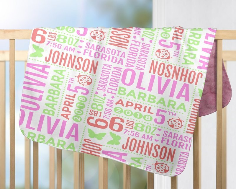 #1 Baby Girl Birth Stats Blanket
