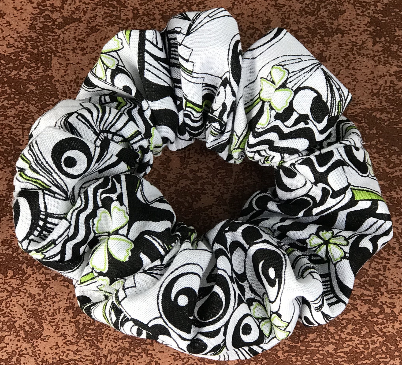 Neon Green & Black Paisley Scrunchie