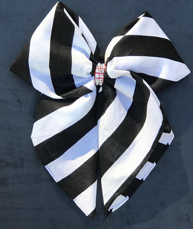 Bandana Bow - Black and White Stripe