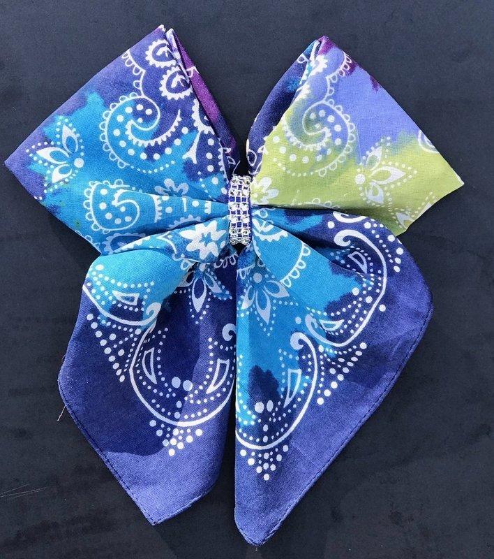 Bandana Bow - Blue and Purple Paisley