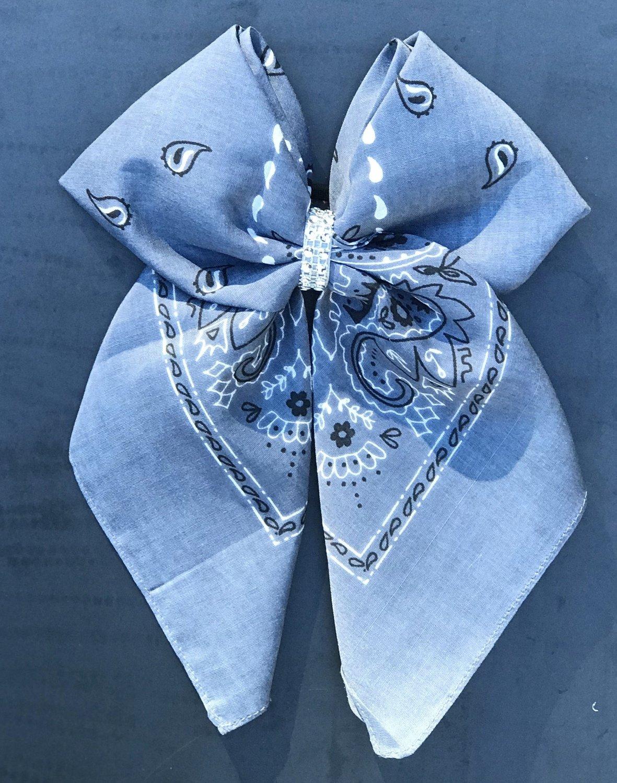 Bandana Bow - Periwinkle Paisley
