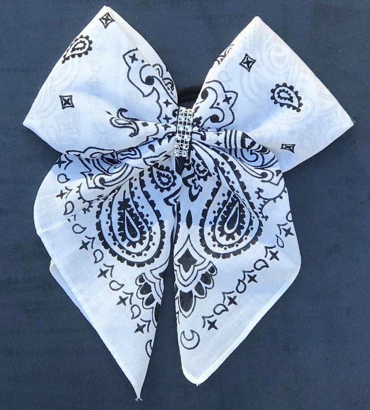 Bandana Bow - White and Black Paisley