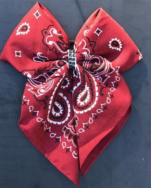 Bandana Bow - Red Paisley