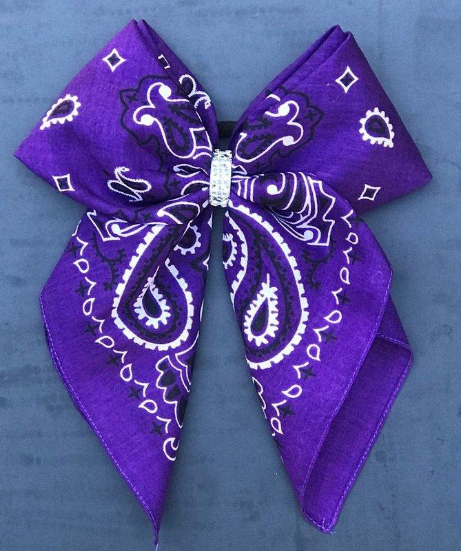 Bandana Bow - Royal Purple Paisley