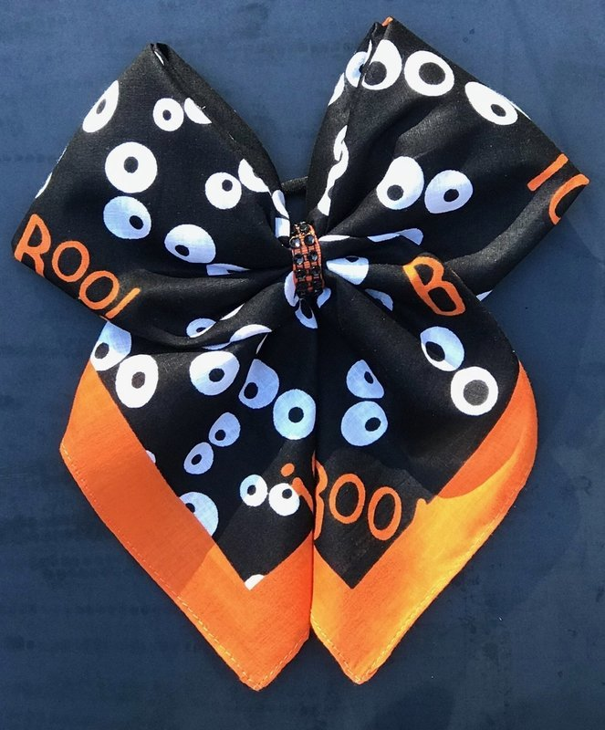Bandana Bow - Boo Eyes Halloween Print