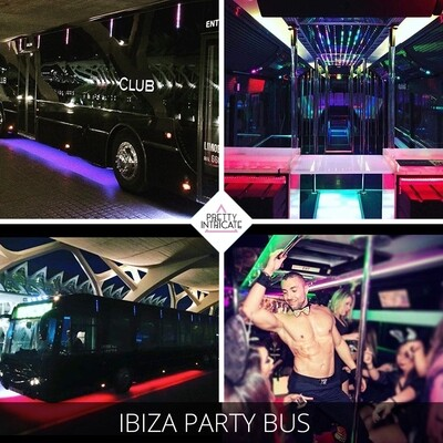 Ibiza party bus with male stripper