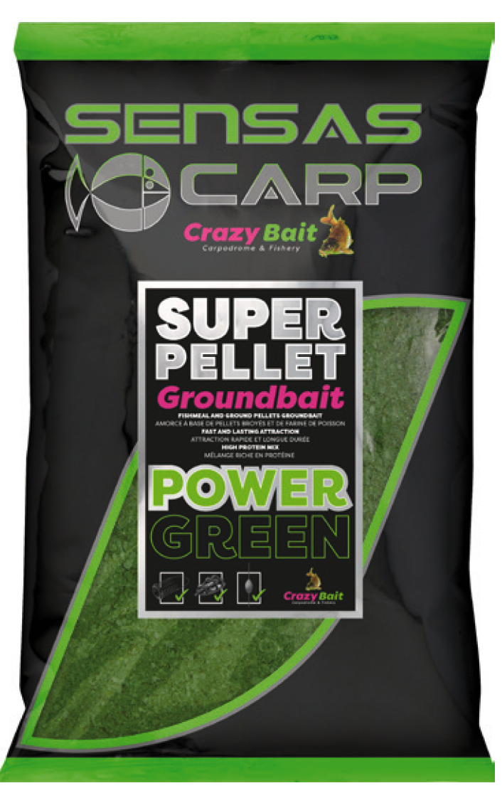 Super Pellet  GROUNDBAIT POWER GREEN - Sensas