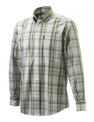 Camicia Drip Dry Shirt Long Sleeves White & Green Check - BERETTA