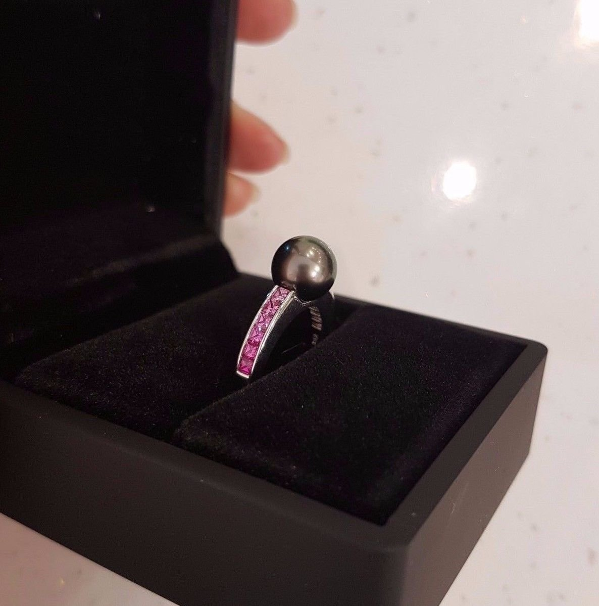 18ct White Gold Pearl and 1.00ct Pink Sapphire Ring