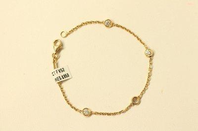 18ct Yellow Gold Bracelet with 4 Diamonds, 0.50ct F VS2
