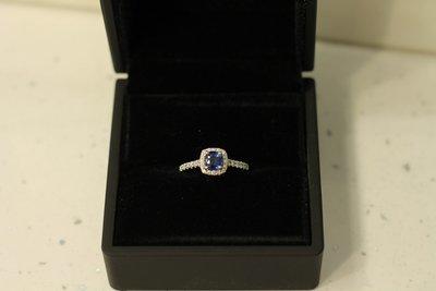 0.75ct Sapphire and 0.40ct Diamond Platinum Ring