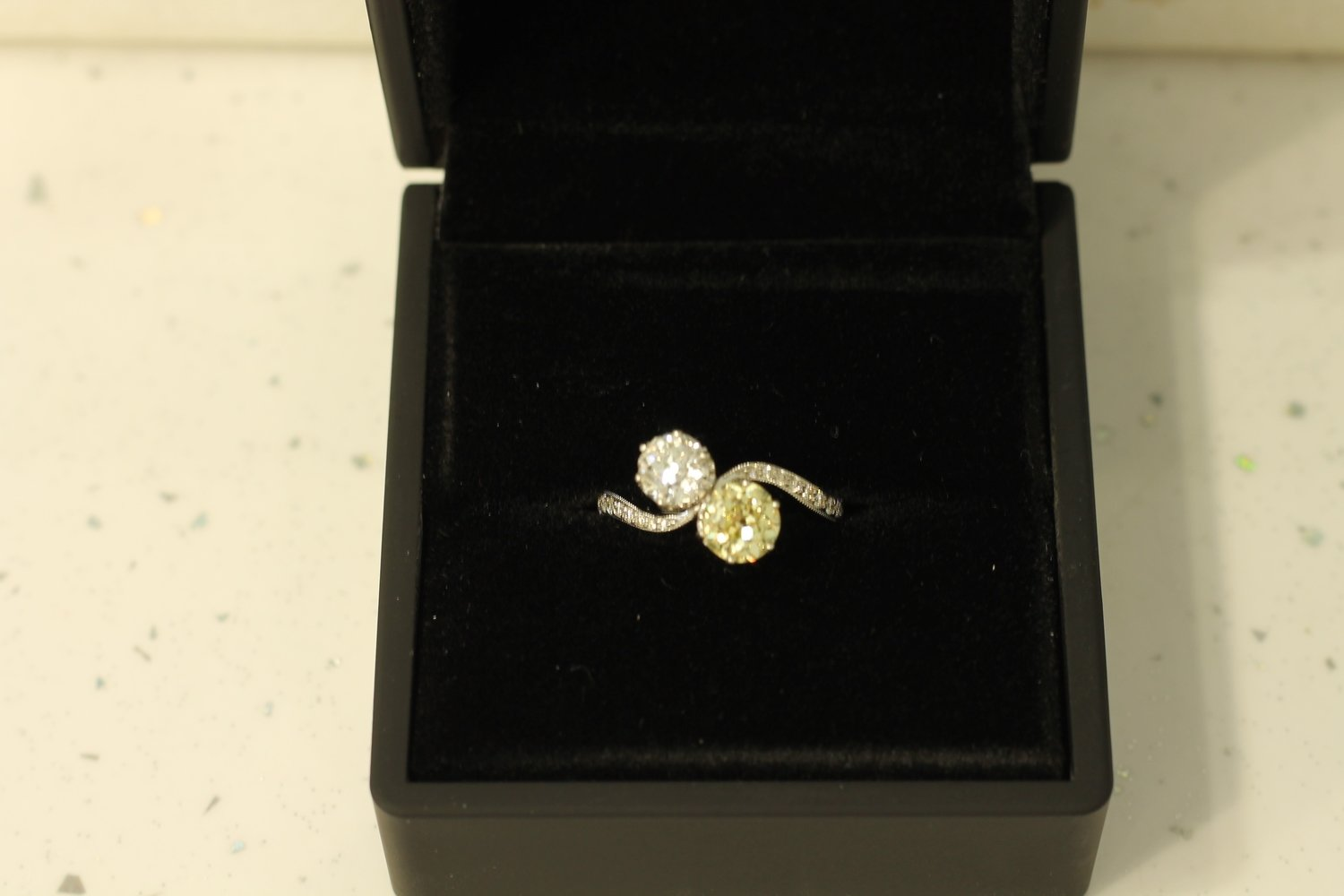 1.18ct Natural Fancy Yellow and 0.78ct Diamond Antique Ring
