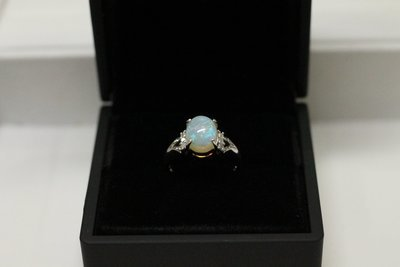 14k White Gold, Opal and Diamond Ring