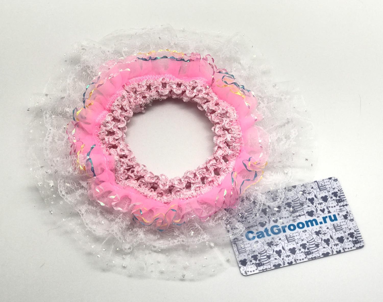 Декоративный воротничок (белый с розовым)