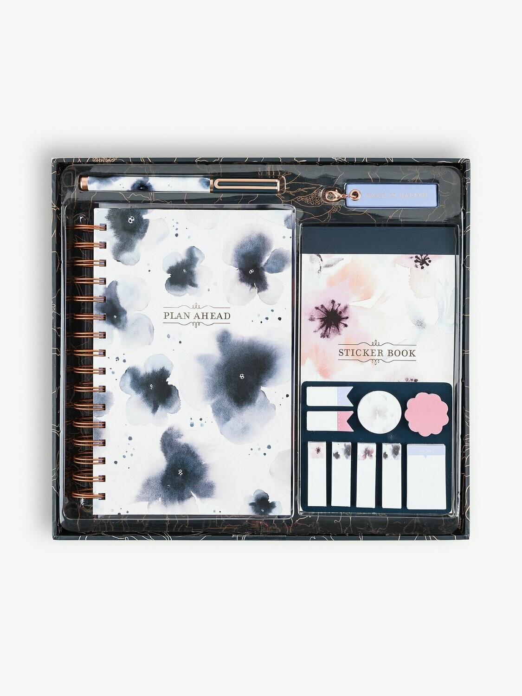 Watercolor Floral Planner Kit, Navy Blue