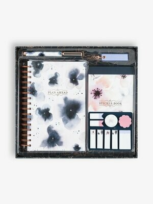 Watercolor Floral Planner Kit, Navy Blue