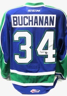 2018/19 Kye Buchanan Authentic Game Worn Blue Jersey