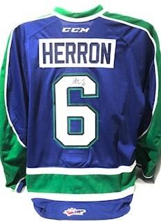 2018/19 Austin Herron Game Worn Blue Jersey