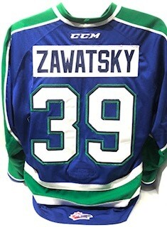 2018/19 Alec Zawatsky Game Worn Blue Jersey