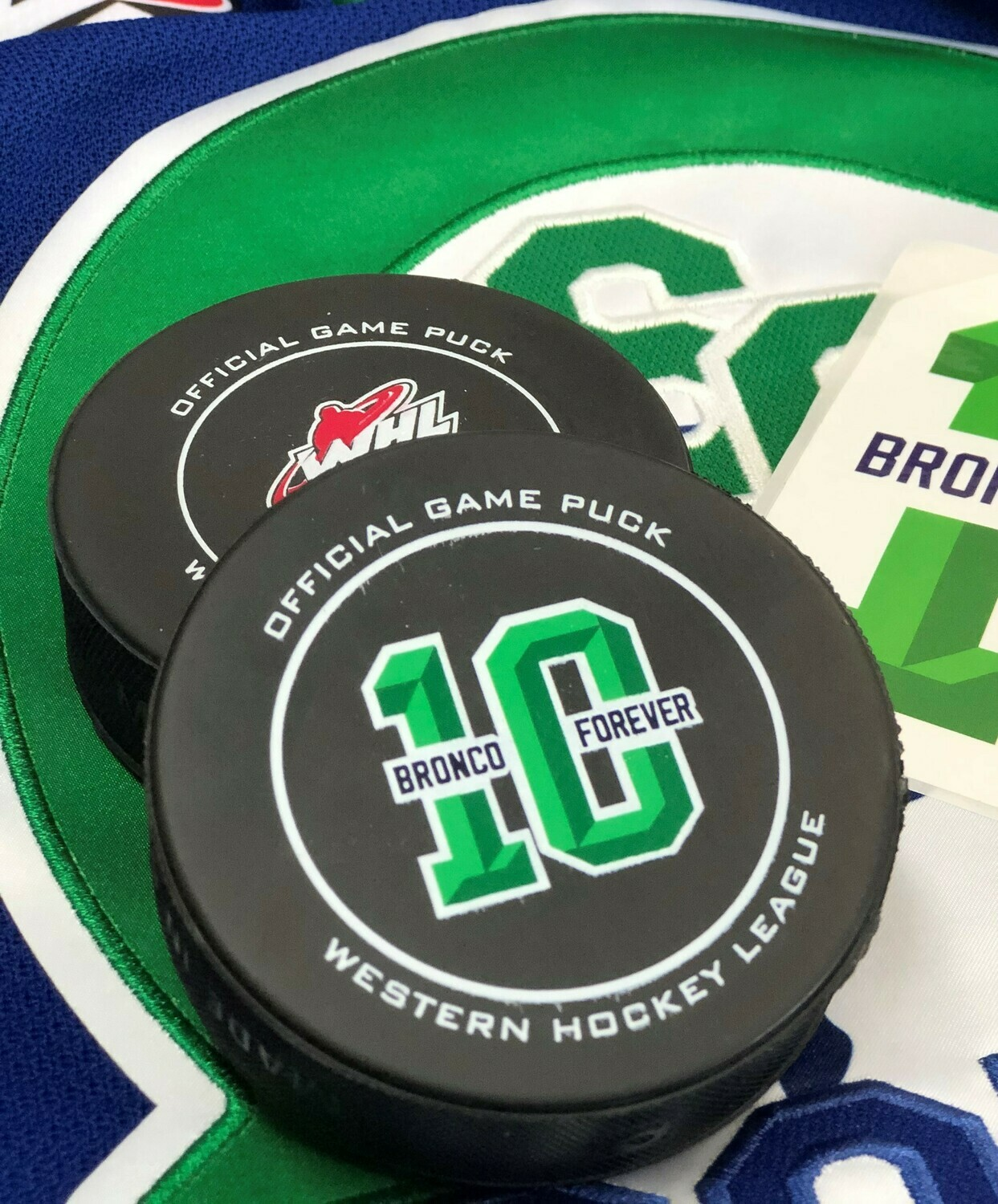 #10 Bronco Forever Colby Cave Tribute Puck