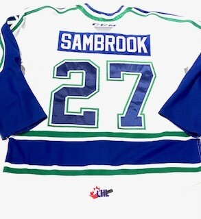 2019/20 Garrett Sambrook Authentic Game Worn White Jersey