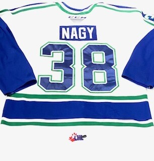 2019/20 Cole Nagy Authentic Game Worn White Jersey