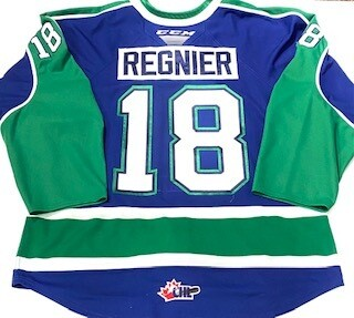 2019/20 Ethan Regnier Authentic Game Worn Blue Jersey