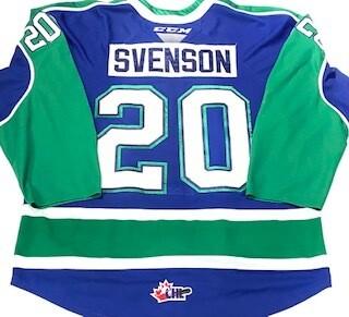 2019/20 Justin Svenson Authentic Game Worn Blue Jersey
