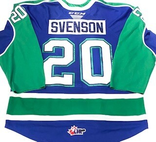 2019/20 Justin Svenson Authentic Game Worn Blue Jersey