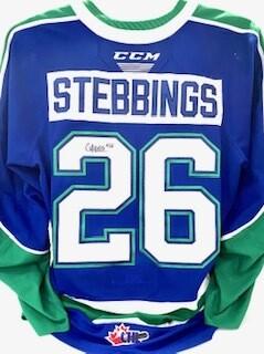 2020/21 Hub Edition Carter Stebbings Game Worn Blue Jersey