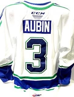 2020/21 Hub Edition Authentic Devin Aubin Game Worn White Jersey