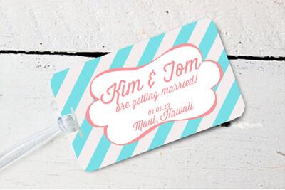 Striped Retro Destination Wedding Luggage Tag
