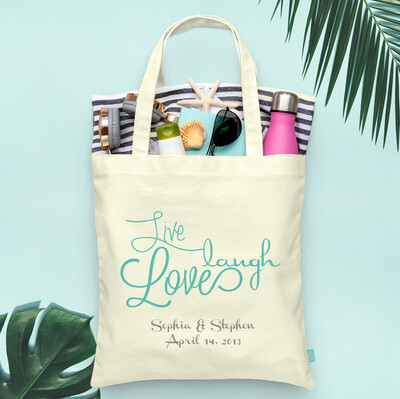 Live, Laugh Love Wedding Welcome Tote Bag