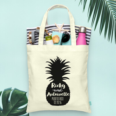 Pineapple Silhouette Destination Wedding Tote Bag