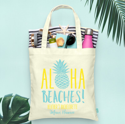 Aloha Beaches Pineapple -Hawaii Bachelorette Tote Bag