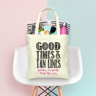 Bold Good Times & Tan Lines Bachelorette Tote Bag