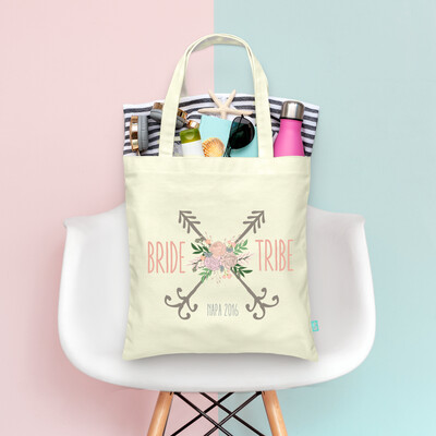 Bride Tribe Floral Arrow Bachelorette Tote Bag