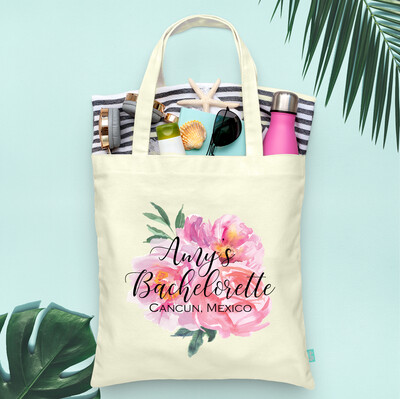 Floral Watercolor Destination Beach Bachelelorette Party Tote Bag