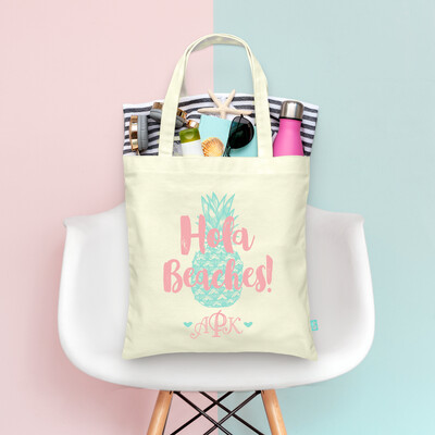 Hola Beaches Monogram Pineapple -Bachelorette Tote Bag